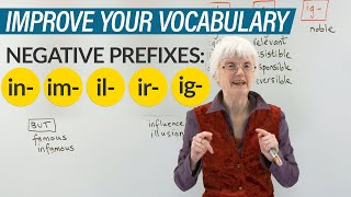 Learn Negative Prefixes in English: IN-, IM-, IL-, IR-, IG-