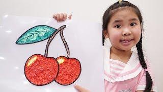 Bố Hướng Dẫn Bé Bún Vẽ Quả Cherry Bằng Đất Sét Xốp | Drawing & Coloring Cherry with Foam Clay