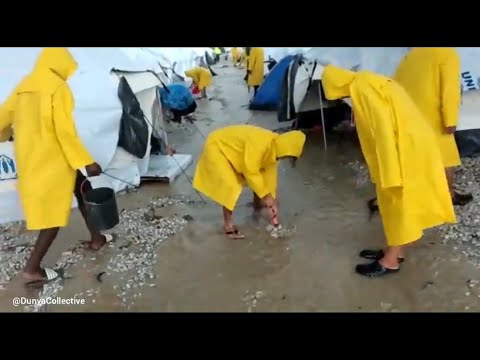 Lesbos: Tragic images from the new refugee camp – Migrants forced to live in flooded tents (Greece)