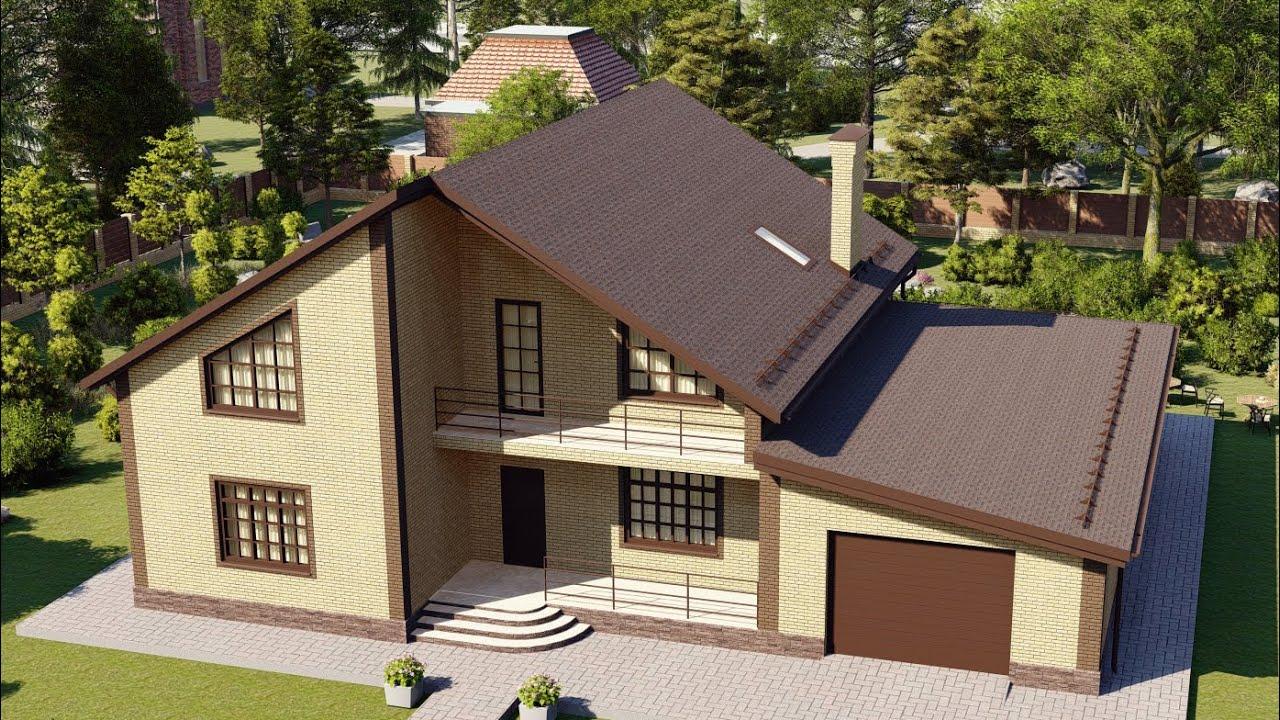 Проект красивого дома из газобетона с гаражом и балконом