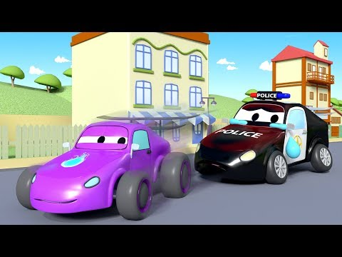Mat the police Car is coughing ! - Amber the Ambulance in Car City l Cartoons for Children