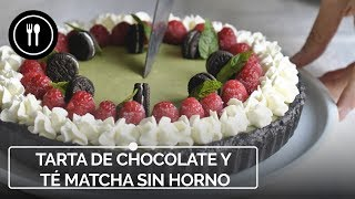 Tarta de té matcha, chocolate blanco y Oreo sin horno