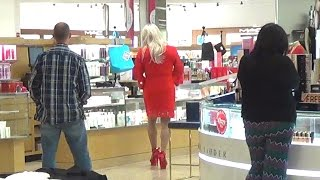 Tgirl Lady In Red At Dillards (HD) Matty Caff Crossdresser Transvestite