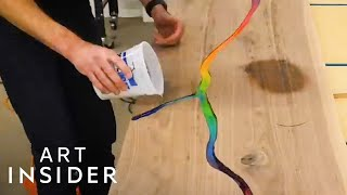 Rainbow River Tables Are Made With Crayons