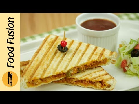 Grilled Sandwich with chicken & Cheese Recipe By Food Fusion