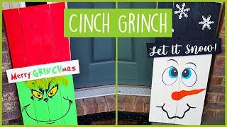 Christmas Front Porch Entryway Decor Ideas - DIY Snowman And Grinch Porch Signs