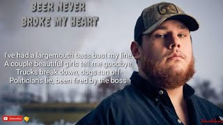 Beer Never Broke My Heart By Luke Combs (lyric Video)