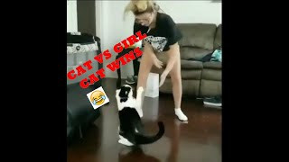 CAT VS GIRL BOXING(CAT WINS)
