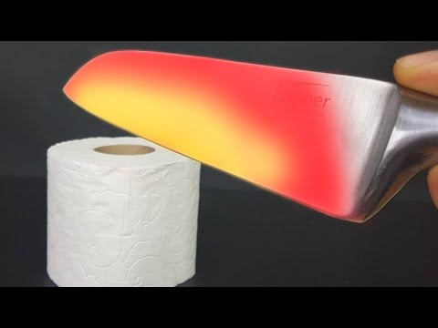 EXPERIMENT Glowing 1000 degree KNIFE VS TOILET PAPER