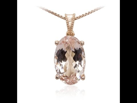 Oval Cut Morganite Necklace with Filigree LS3573