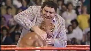 WWF Saturday Nights Main Event aired January {1-2-1988] part 7 Andre The Giant attacks Hogan