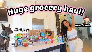 MOVING VLOG 5   NEW FRIDGE TOUR! Organize my groceries with me + meal prep!