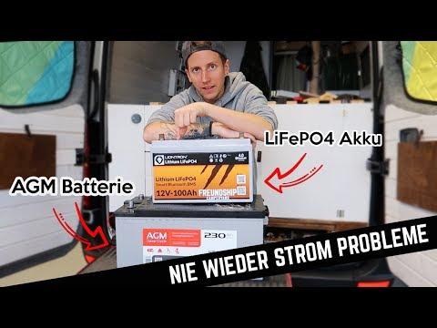 LiFePO4 Lithium Ionen Batterie vs. AGM Batterie // Nie wieder Stromprobleme im Crafter Campervan