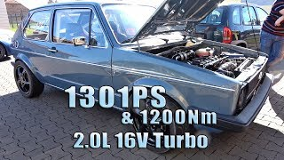 VW Golf Mk1 AWD 2.0L 16V Turbo 1301PS & 1200Nm Dyno 2018