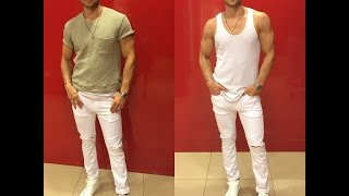 Mens Summer Fashion: White Skinny Jeans Style With A Hip Hop Vibe.
