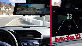 """Auto-Vox X2 9.88"""" Dual Lens Car DVR Mirror Dash Cam Recorder + Rear View Camera / Review"""