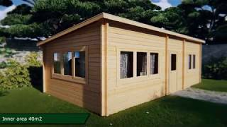 One Bedroom Guest House Log Cottage Holiday J 40m²