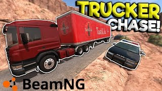 CRAZY DIESEL TRUCK POLICE CHASE & CRASHES! - BeamNG Gameplay & Crashes - Cop Escape