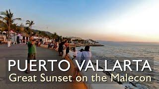 Great Sunset walking along the Puerto Vallarta Malecon