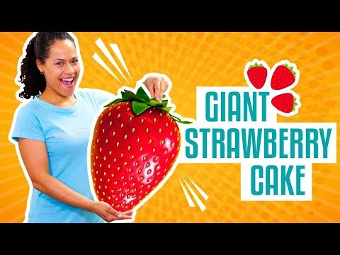 How To Make A GIANT STRAWBERRY Out Of Pink Vanilla CAKE & Fondant   Yolanda Gampp   How To Cake It