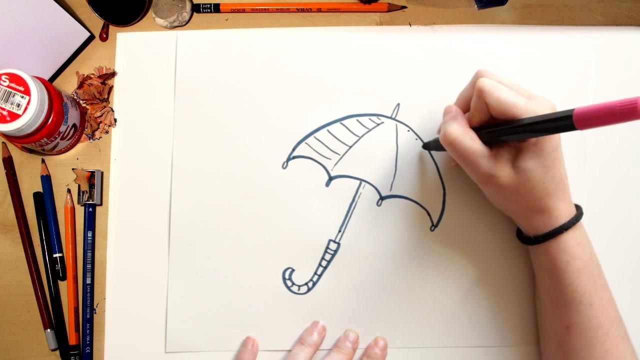 Como desenhar um Guarda-Chuva - desenhos para crianças