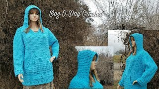 How To Crochet - A Hoodie Plus Sized/Oversized Hooded Sweatshirt BAG O DAY Crochet Tutorial #466