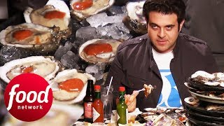 Can Adam Eat 180 Oysters In 60 Minutes?!   Man v Food