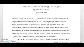 """""""The Author Tells Why It Is Called The Glass Menagerie"""" by Tennessee Williams"""