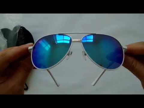 Polarized Pilot Sunglasses White Metal Frame Ice Blue Lens
