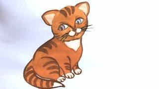 Смотреть онлайн Как поэтапно нарисовать милую кошку красками
