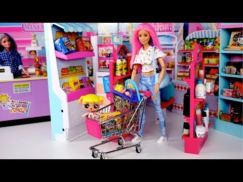 Barbie Doll LOL Family Supermarket Shopping - Is Baby Goldie Lost?