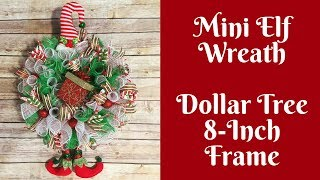 Dollar Tree Christmas Crafts: Mini Elf Wreath Using 8 Inch Dollar Tree Wreath Form