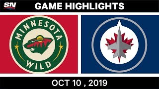 NHL Highlights | Wild vs. Jets - Oct. 10, 2019