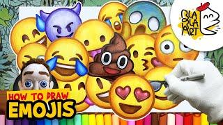 HOW TO DRAW EMOJIS | Beautiful Emoji Easy Drawing Compilation | BLABLA ART