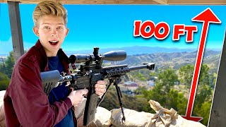 We built a Sniper Tower on Top of our Mountain! *100 FT*