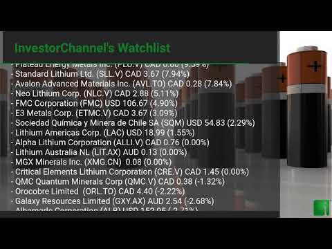 InvestorChannel's Lithium Watchlist Update for Monday, Mar ... Thumbnail