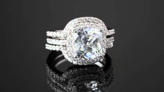4.26 TCW Cushion Cubic Zirconia Three-Piece Halo Bridal Ring Set In Platinum Over Sterling Silver