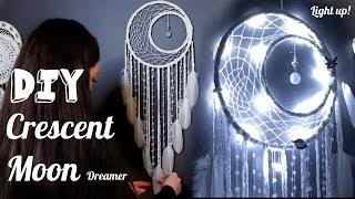 DIY Crescent Moon Dreamcatcher With Fairy Lights Tutorial