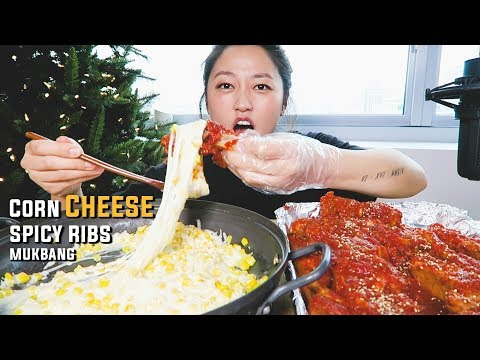 (recipe mukbang) Corn Cheese Spicy Pork Ribs Mukbang!! oh yeh!!