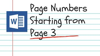 Page numbers starting from a specific page in Word 2019