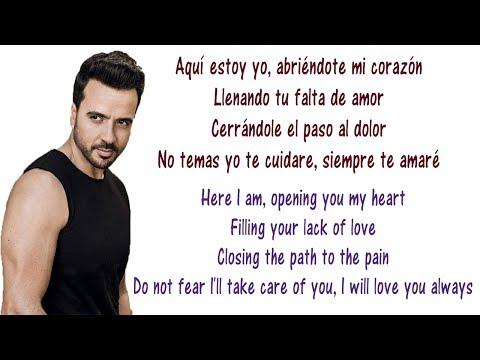Luis Fonsi - Aqui Estoy Yo Lyrics English and Spanish - ft Aleks Syntek, Noel Schajris, David Bisbal