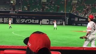 松田 キャッチボール中に子供を見つけ、神対応