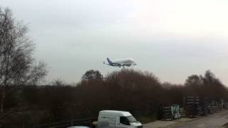 preview picture of video 'Airbus Beluga Landing at Broughton Airfield, Chester'