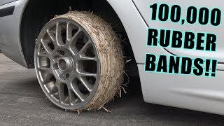 We Tried RUBBER BAND Tires