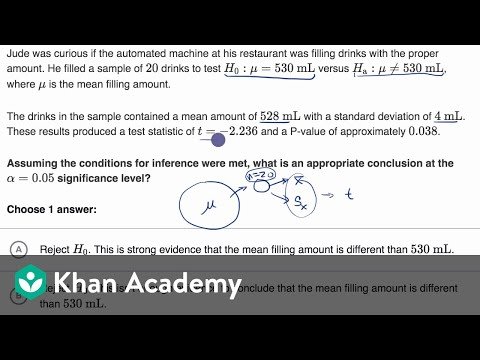 Comparing P Value From T Statistic To Significance Level Video Khan Academy