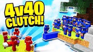 INSANE 4v40 CLUTCH in Minecraft Bed Wars!