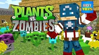 Minecraft Capitán América 😱🤣 Dibujos Animados Chistosos de Minecraft y Plantas Contra Zombies