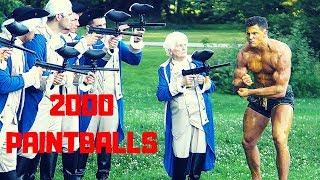 Grandma Shoots 2000 PAINTBALLS at Bodybuilder | Bodybuilder VS Crazy Paintball Gun Challenge Fail