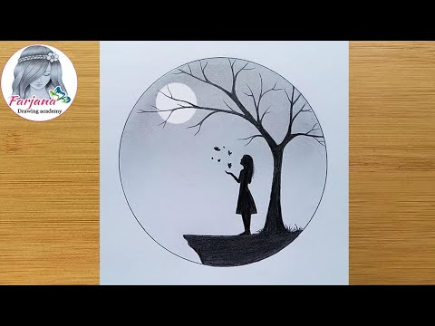How to draw a girl with Butterfly in Moonlight for beginners    Pencil sketch    Art Video