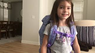 My 6 and 9 year old kids try out their new backpacks from Beckmann of Norway